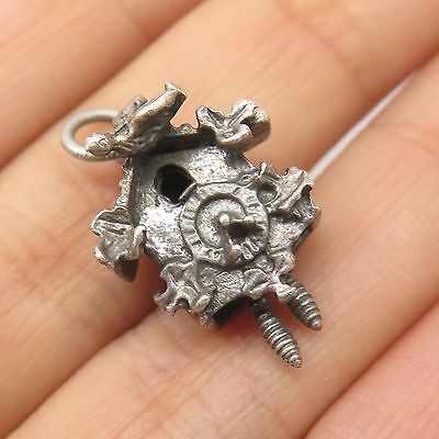 Vintage 925 Sterling Silver Cuckoo Clock Small Charm