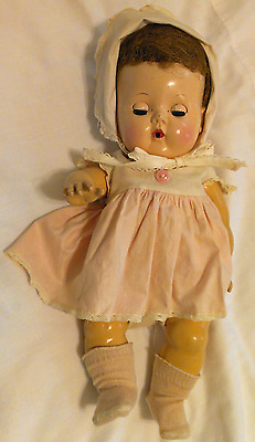 Vintage American Character Tiny Tears Doll dress diaper socks bonnet Precious!