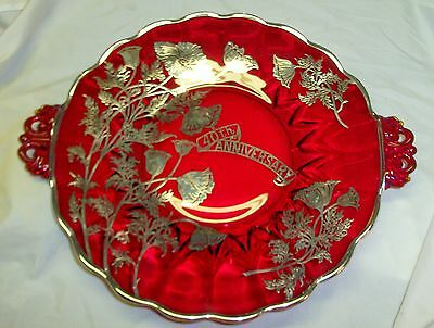 Vintage Viking Glass 40th Anniversary Ruby Red Plate Glass Silver Overlay