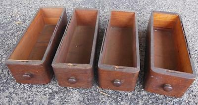 Set Of 4 Antique Singer Treadle Sewing Machine Drawers Tiger Oak Red Eye 1920's