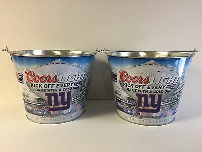 Coors Light New York Giants 5 Quart Ice Bucket ~ Set of Two (2) NEW & Free Ship