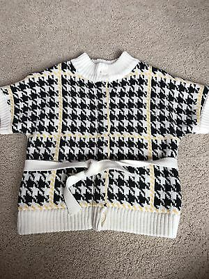Janie And Jack Girls Pretty In Plaid 4 Sweater Yellow Grey Houndstooth