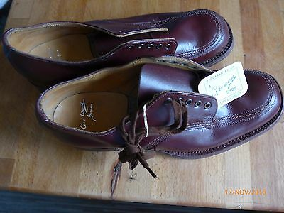 """BOYS RETRO """"GEO.WARD"""" JUNIORS BENCH MADE ALL LEATHER SHOES - BROWN -size 4.5UK"""