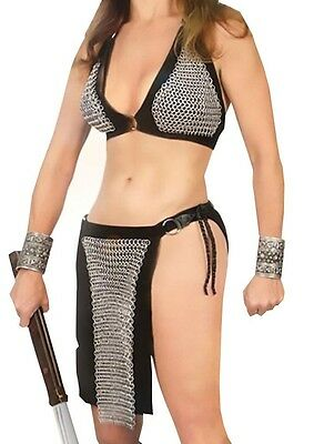 Chain Mail Bra and Loin Cloth, Armor, Leather, Suede, Two Piece, Skirt, LARP,