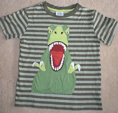 Boys Mini Boden Green Stripe T-Rex Dino Applique Shirt size 4-5 clothes