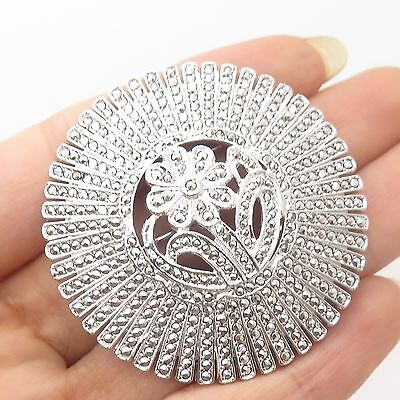 Vtg 925 Sterling Silver Real Marcasite Gemstone Floral Design Round Pin Brooch