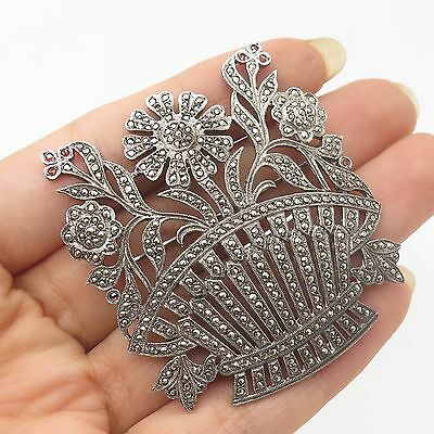 Vtg 925 Sterling Silver Real Marcasite Gemstone Large Floral Pin Brooch