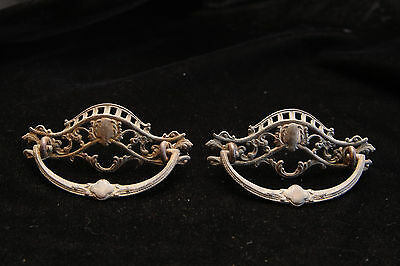 Vintage Pair of Brass Door Drawer Handles - Decorative Need Cleaning - Hardware