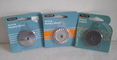 FISKARS Pinking Rotary Razor Edge and Rotary Blade Lot of 3