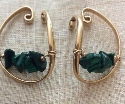 Vintage Barbara Barnett Hooker Earrings Ear Cuff Gf  Malachite Estate Find