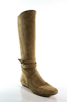 Jimmy Choo Light Brown Leather Zip Up Knee High Boots Size 38.5 8.5