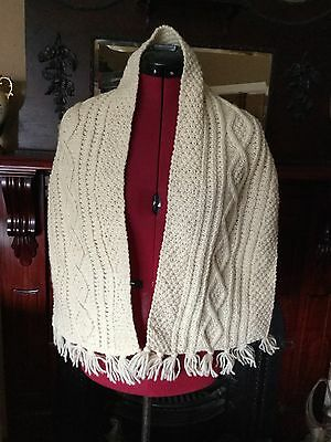 Beautiful Virgin Pure 100% Wool Ireland Cable Traditional Knit Scarfe Scarf