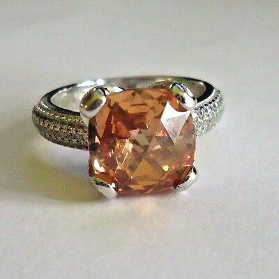 Tacori Sterling Silver Ring orange and  clear cz ring Size 7.5