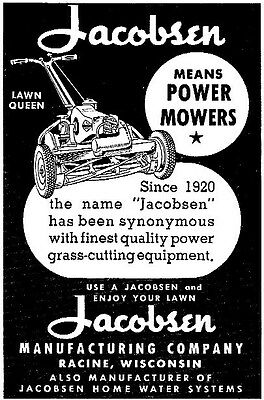 Vintage 1947 JACOBSON LAWN QUEEN Power Mower ad ~ Racine, WI