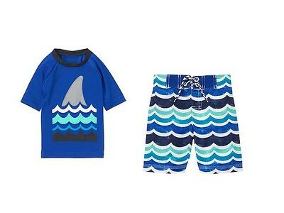 NWT Gymboree Two-piece Boys Size 18-24 M or 3T Rash Guard Top & Wave Swim Trunks