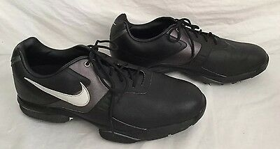 Mens Nike Size 10.5 Medium Black Power Traction Golf Shoes