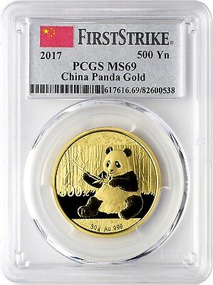 2017 500 Yuan China Gold Panda Coin 30 Grams .999 Gold PCGS MS69 First Strike