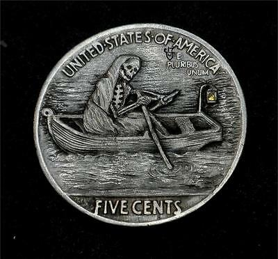 "Hobo Nickel ""Crossing The River Styx"" The Ferryman Skeleton Coin Howard Thomas"