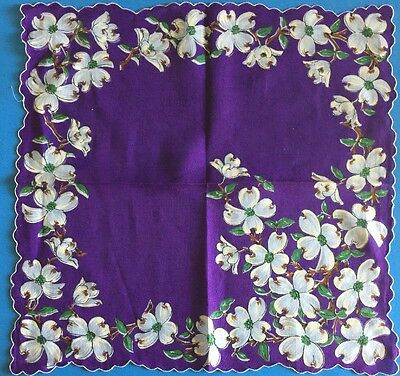 Vintage Purple Scalloped Hankie Covered w/Beautiful Dogwood Blossoms  (#525)