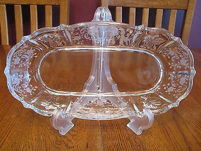 Beautiful Vintage Fostoria Meadow Rose Etched On Baroque Clear Glass Celery Dish
