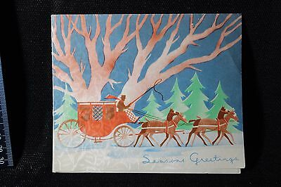 Vintage Christmas Greeting Card Mid Century~Art Deco Horse and Carriage Insert