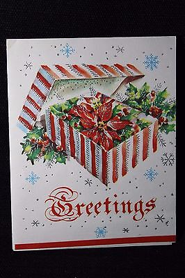 Vintage Christmas Greeting Card Mid Century~Pretty Candy Stripe Gift Box
