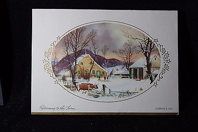 """Vintage Christmas Greeting Card Mid Century~Currier Ives """"Returning To The Farm"""""""