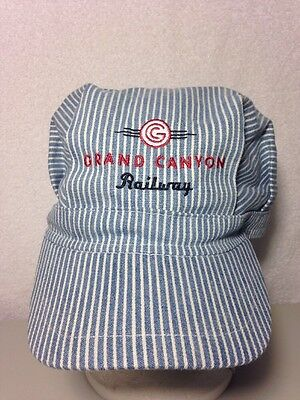Grand Canyon Railway Hat Striped Engineer / Conductor Style, Snapback, Cotton