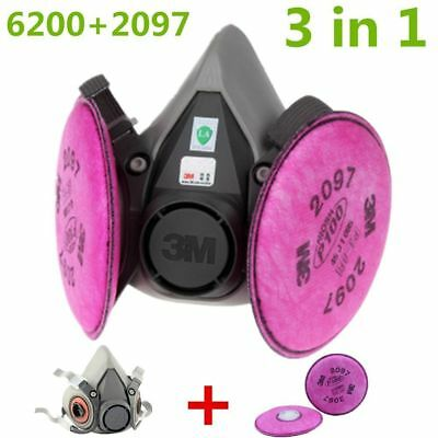 3M 6200 Spray Paint/Dust Gas Mask Respirator Half Facepiece + 2097 P100 Filters