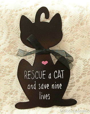 New Crazy Cat Lady Black Rescue a Cat Save Nine Lives Kitten Metal SIGN Ornament