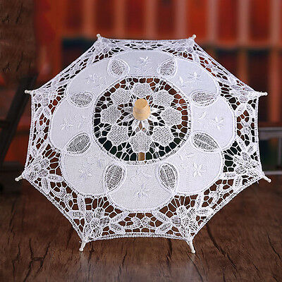 New Style Battenburg Lace Wedding Umbrella Bridal Party Cosplay Cotton Parasols