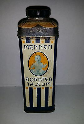 Vintage Mennon Borated Talcum Powder Antique Tin Baby Advertising Baby Powder