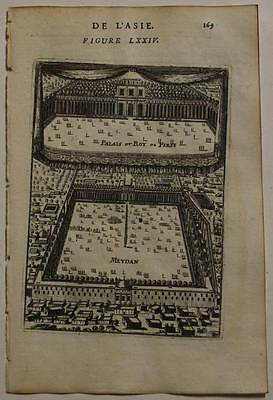 Isfahan Iran 1683 Alain Manesson Mallet Antique Copper Engraved City View
