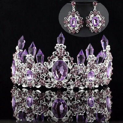 Queen Floral Purple Austrian Rhinestone Crystal Tiara Crown Set Bridal Prom T7p