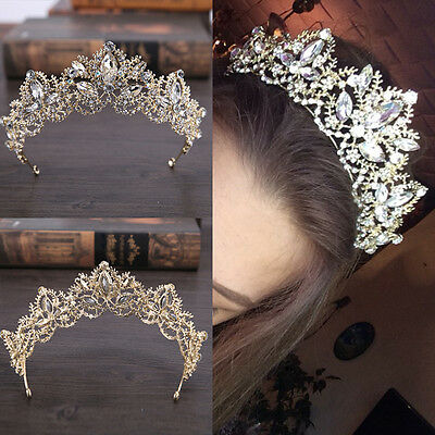 Bride Baroque Luxury Crystal AB Bridal Crown Tiaras Light Gold Diadem Tiara New