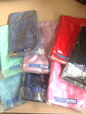 12 Pack of 65cm x 65cm Silk Scarves/ squares new - Hand seamed many Colours