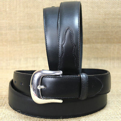 "Tony Lama 1-3/8"" Black Smooth Leather Longhorn Silver Plated Dress Men Belt"