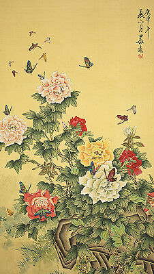 """CHINESE HANGING SCROLL """"Butterflies and Peony""""  @b892"""