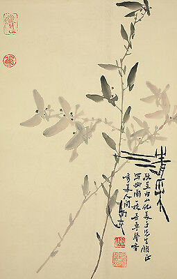 """CHINESE HANGING SCROLL """"Flowers""""  @b893"""