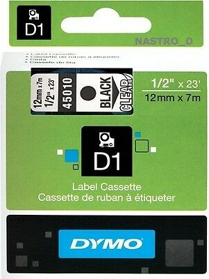NON FADING ! ORIGINAL DYMO D1 LABEL 12 mm x 7M 45010 TAPE RUBAN BLACK CLEAR NOIR