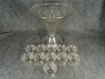 Circa 1960S Anchor Hocking EAPG Star Of David Punch Bowl Set 13 Piece