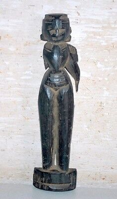 Old India Rare Vintage Wooden Hand Carved Woman Figure Decorative Putali