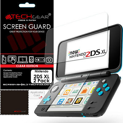 2 Pack TECHGEAR Top & Bottom Screen Protector Guard Covers for Nintendo 2DS XL