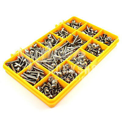 210 PIECE ASSORTED 10g A2 STAINLESS STEEL FLANGE POZI PAN SELF TAPPING SCREW KIT