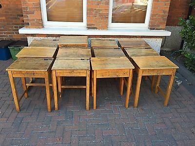 Vintage Retro Antique Flip Top Wooden School Desk
