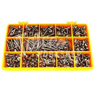 420 PIECE ASSORTED 10g A2 STAINLESS STEEL FLANGE POZI PAN SELF TAPPING SCREW KIT