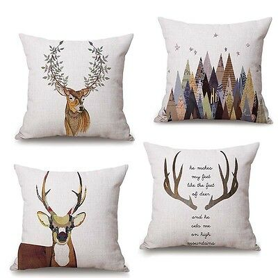 Animals Deer Elk Cotton Linen Pillow Case Throw Cushion Cover Home Office Decor