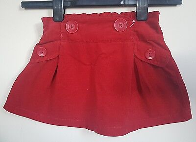 Next baby girl red cordrouy skirt 12-18 months