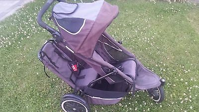 phil&teds Sport Black/Charcoal Jogger Double Seat Stroller Buggy Pushchair