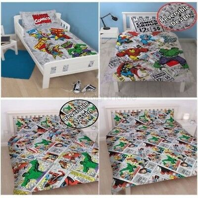 Marvel Comics Retro Duvet Cover Sets - Junior Single Double King Bedding New